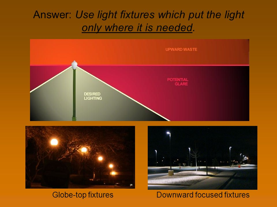 Answer: Use light fixtures which put the light only where it is needed. Globe-top fixturesDownward focused fixtures