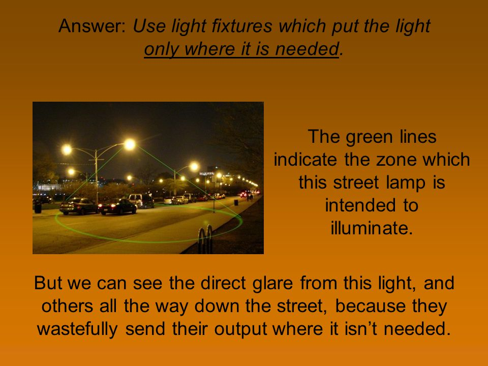 Answer: Use light fixtures which put the light only where it is needed. But we can see the direct glare from this light, and others all the way down t