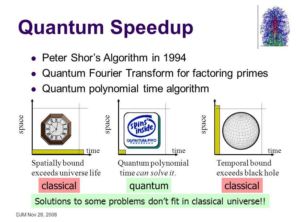 DJM Nov 28, 2008 Quantum Speedup Peter Shors Algorithm in 1994 Quantum Fourier Transform for factoring primes Quantum polynomial time algorithm space Spatially bound exceeds universe life Temporal bound exceeds black hole Quantum polynomial time can solve it.