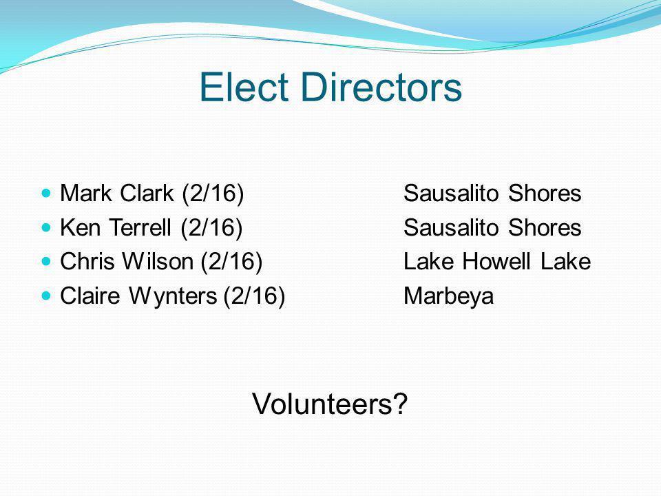 Elect Directors Mark Clark (2/16)Sausalito Shores Ken Terrell (2/16)Sausalito Shores Chris Wilson (2/16)Lake Howell Lake Claire Wynters (2/16)Marbeya Volunteers