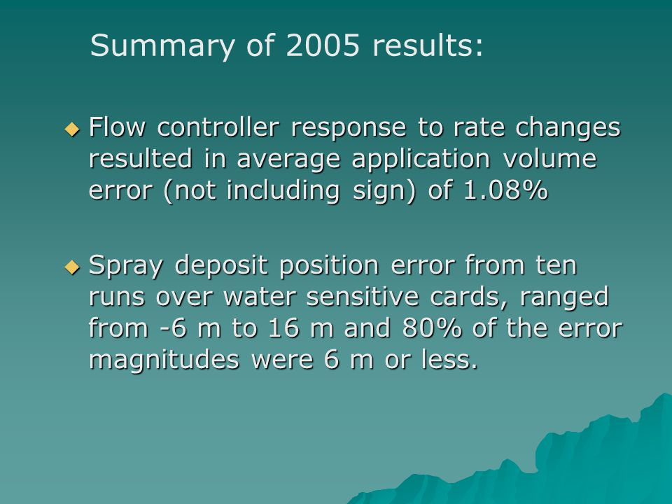 Flow controller response to rate changes resulted in average application volume error (not including sign) of 1.08% Flow controller response to rate changes resulted in average application volume error (not including sign) of 1.08% Spray deposit position error from ten runs over water sensitive cards, ranged from -6 m to 16 m and 80% of the error magnitudes were 6 m or less.