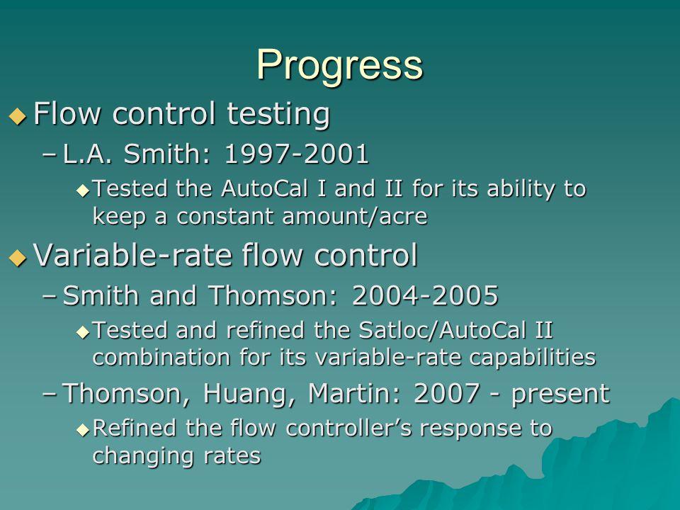 Progress Flow control testing Flow control testing –L.A.