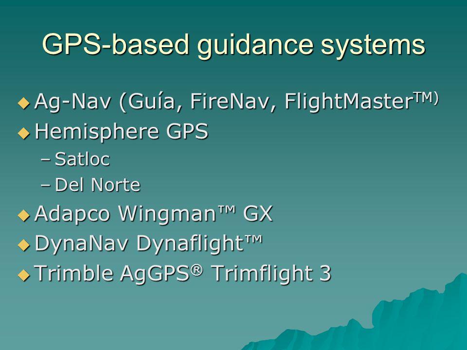 GPS-based guidance systems Ag-Nav (Guía, FireNav, FlightMaster TM) Ag-Nav (Guía, FireNav, FlightMaster TM) Hemisphere GPS Hemisphere GPS –Satloc –Del Norte Adapco Wingman GX Adapco Wingman GX DynaNav Dynaflight DynaNav Dynaflight Trimble AgGPS ® Trimflight 3 Trimble AgGPS ® Trimflight 3
