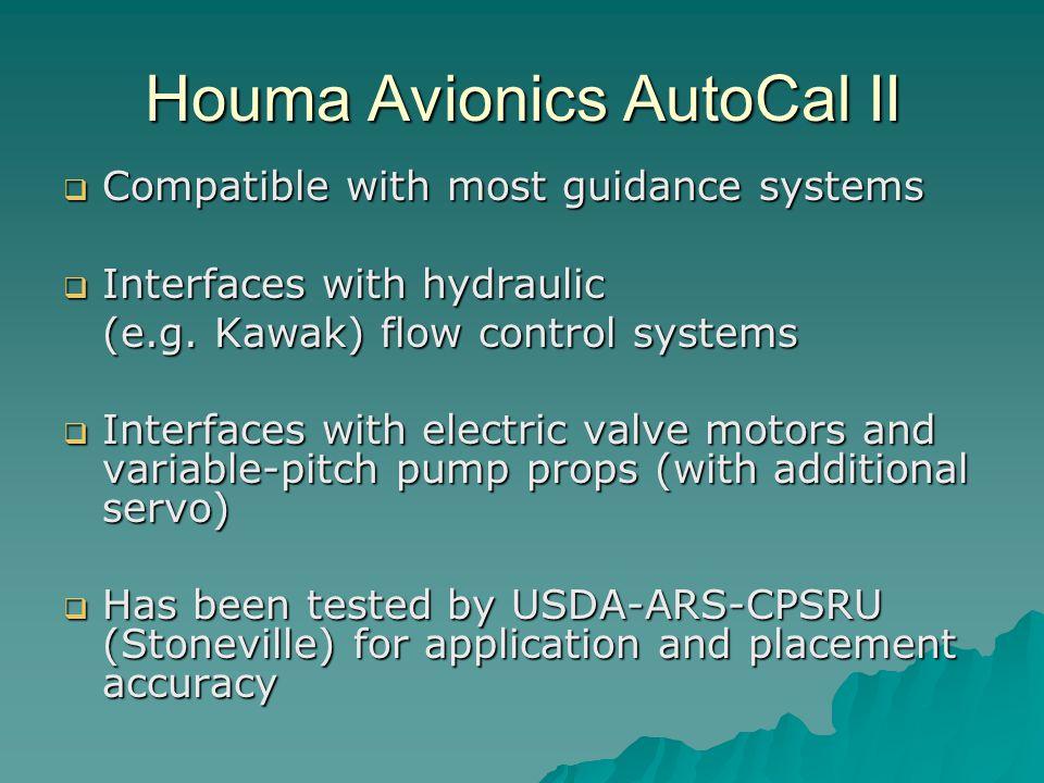 Houma Avionics AutoCal II Compatible with most guidance systems Compatible with most guidance systems Interfaces with hydraulic Interfaces with hydraulic (e.g.