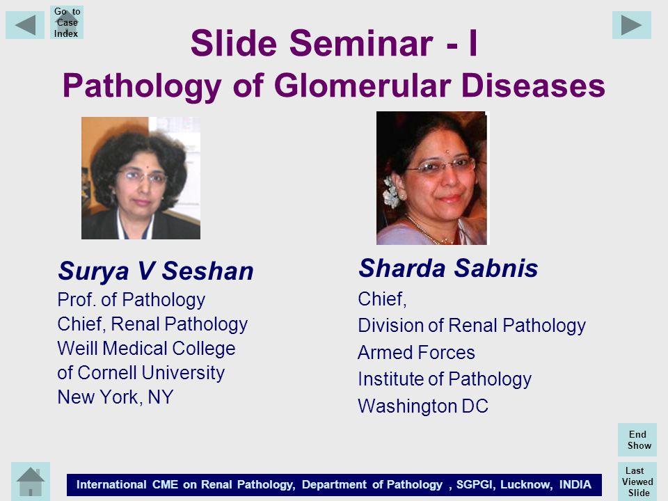 Last Viewed Slide International CME on Renal Pathology, Department of Pathology, SGPGI, Lucknow, INDIA End Show Go to Case Index Slide Seminar - I Pat