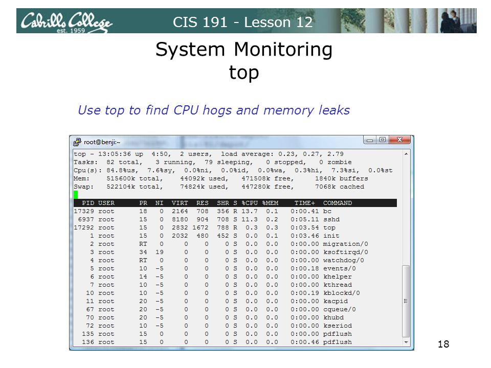CIS 191 - Lesson 12 System Monitoring top Use top to find CPU hogs and memory leaks 18