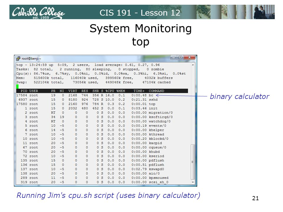 CIS 191 - Lesson 12 System Monitoring top Running Jim s cpu.sh script (uses binary calculator) 21 binary calculator