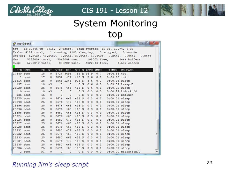 CIS 191 - Lesson 12 System Monitoring top Running Jim's sleep script 23