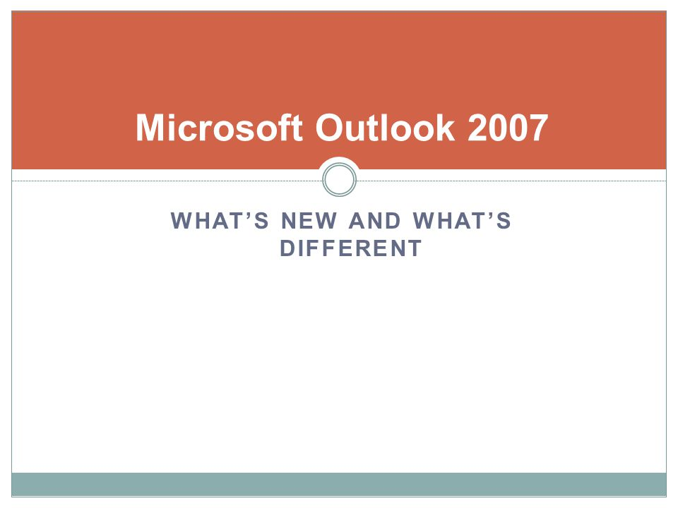 Microsoft Outlook 2007 WHATS NEW AND WHATS DIFFERENT