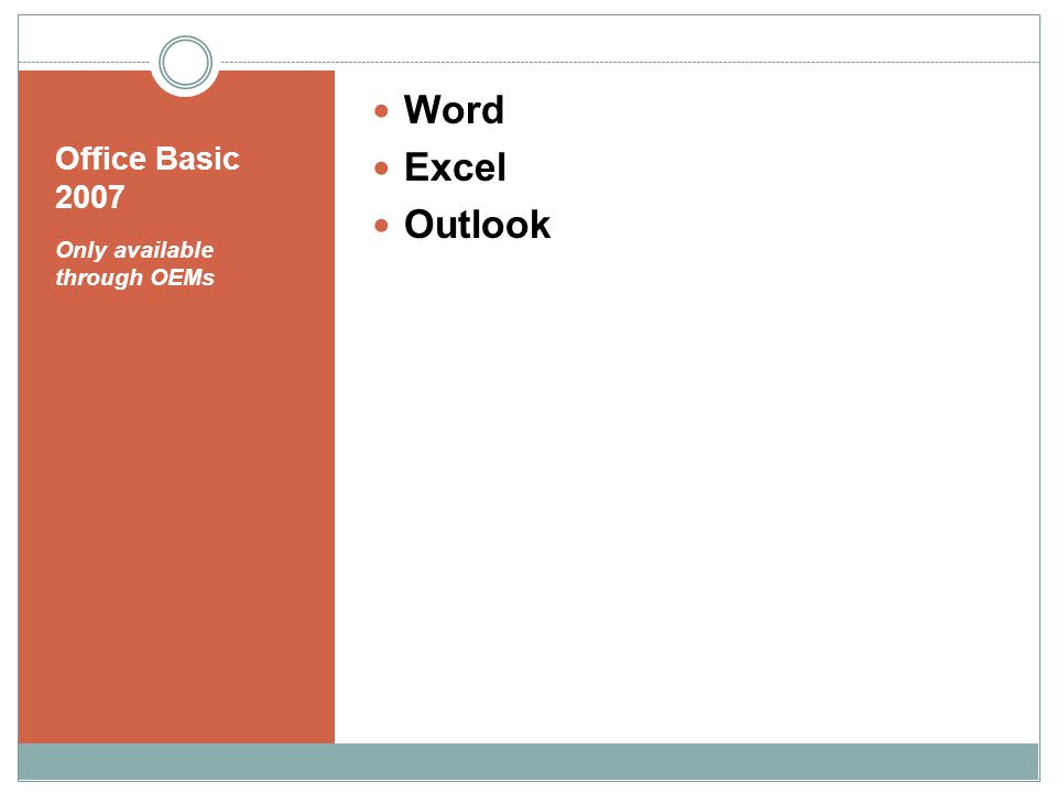 Office Basic 2007 Only available through OEMs Word Excel Outlook