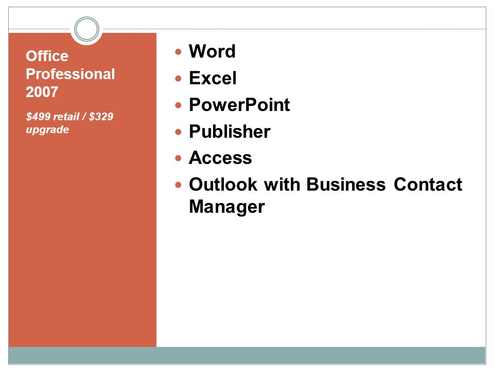 Office Professional 2007 $499 retail / $329 upgrade Word Excel PowerPoint Publisher Access Outlook with Business Contact Manager