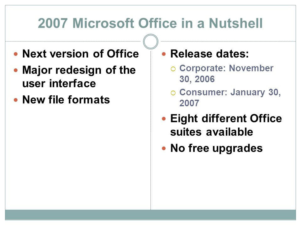 2007 Microsoft Office in a Nutshell Next version of Office Major redesign of the user interface New file formats Release dates: Corporate: November 30, 2006 Consumer: January 30, 2007 Eight different Office suites available No free upgrades