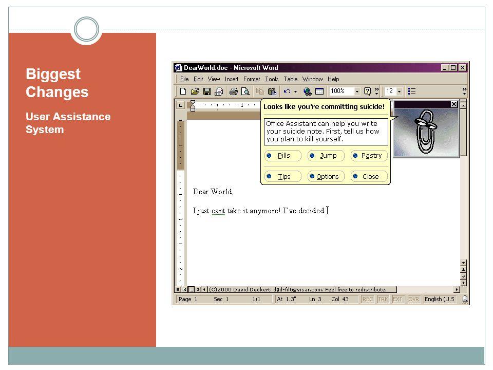 Biggest Changes User Assistance System
