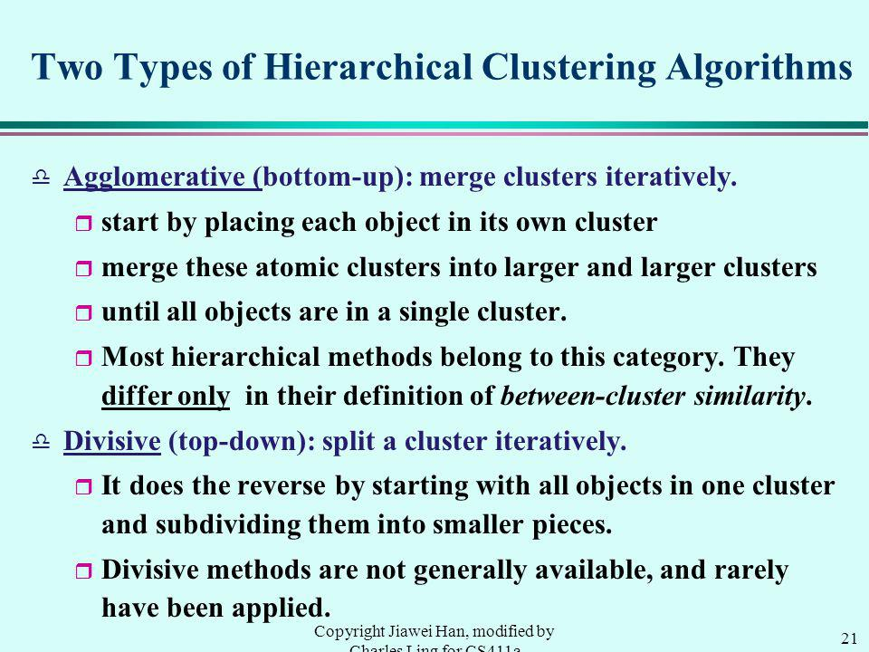 21 Copyright Jiawei Han, modified by Charles Ling for CS411a Two Types of Hierarchical Clustering Algorithms d Agglomerative (bottom-up): merge clusters iteratively.