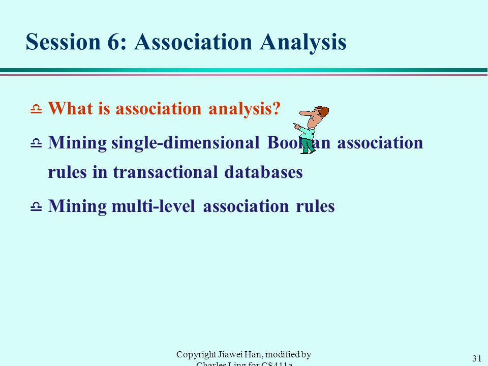 31 Copyright Jiawei Han, modified by Charles Ling for CS411a Session 6: Association Analysis d What is association analysis.