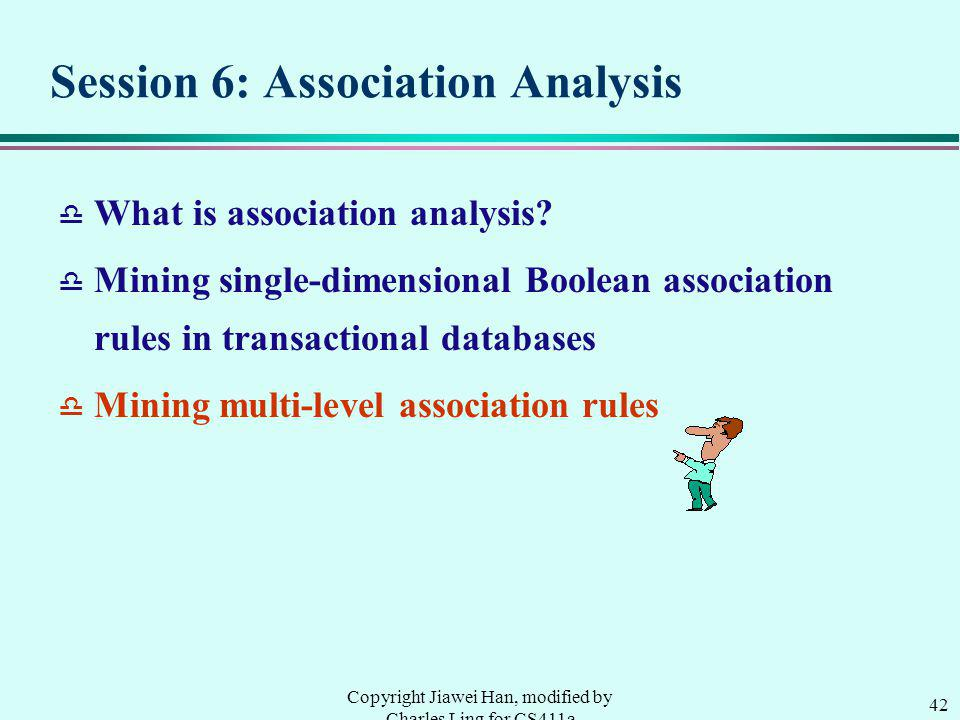 42 Copyright Jiawei Han, modified by Charles Ling for CS411a Session 6: Association Analysis d What is association analysis.