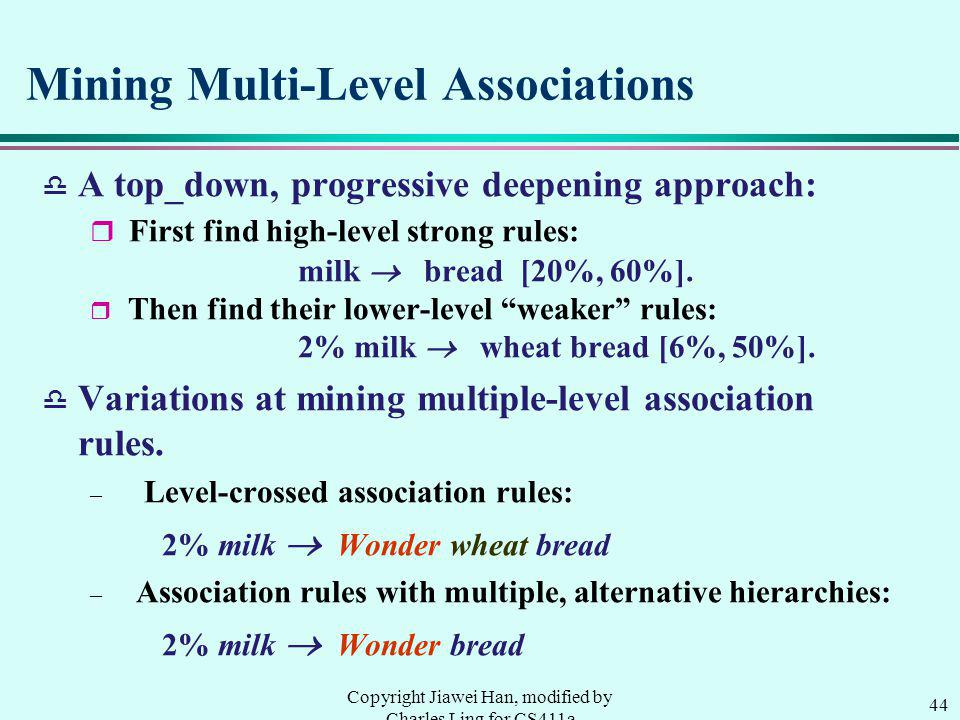 44 Copyright Jiawei Han, modified by Charles Ling for CS411a Mining Multi-Level Associations d A top_down, progressive deepening approach: r First find high-level strong rules: milk bread [20%, 60%].
