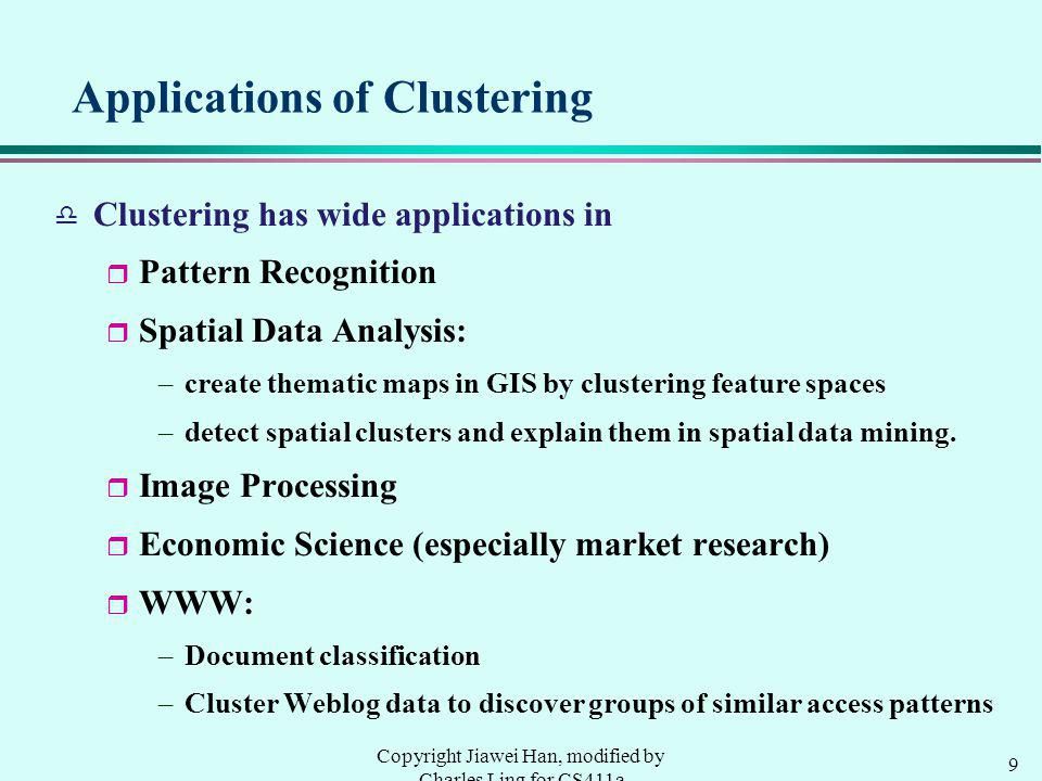 9 Copyright Jiawei Han, modified by Charles Ling for CS411a Applications of Clustering d Clustering has wide applications in r Pattern Recognition r Spatial Data Analysis: –create thematic maps in GIS by clustering feature spaces –detect spatial clusters and explain them in spatial data mining.