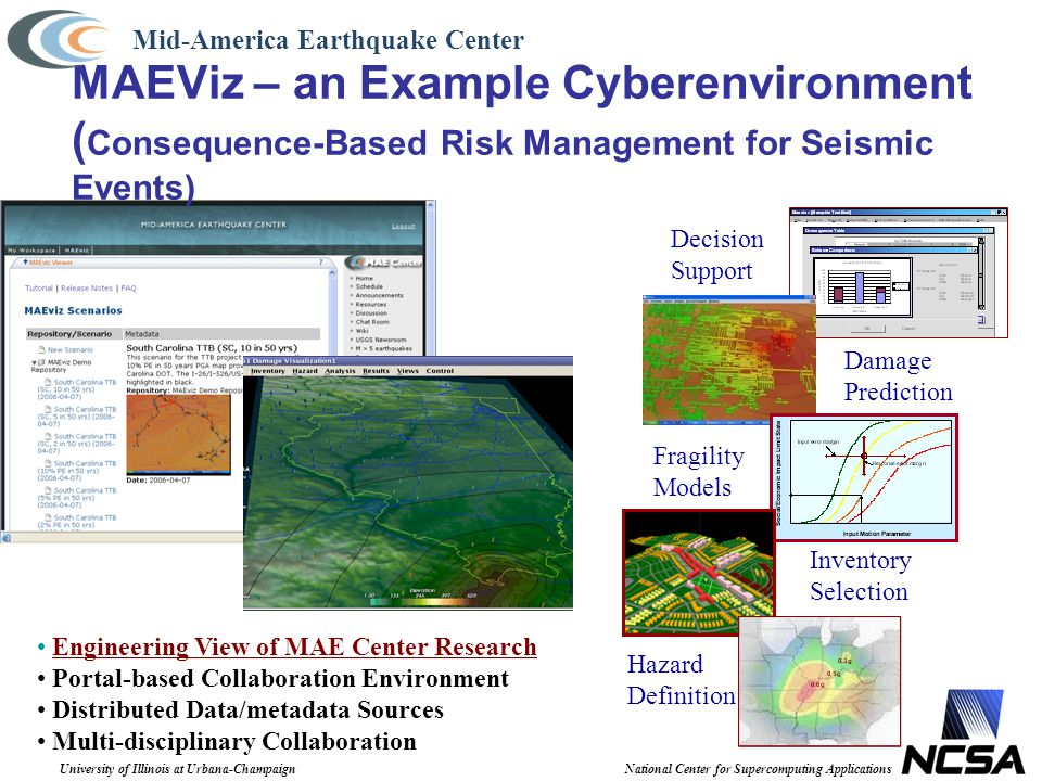 University of Illinois at Urbana-ChampaignNational Center for Supercomputing Applications MAEViz – an Example Cyberenvironment ( Consequence-Based Ris