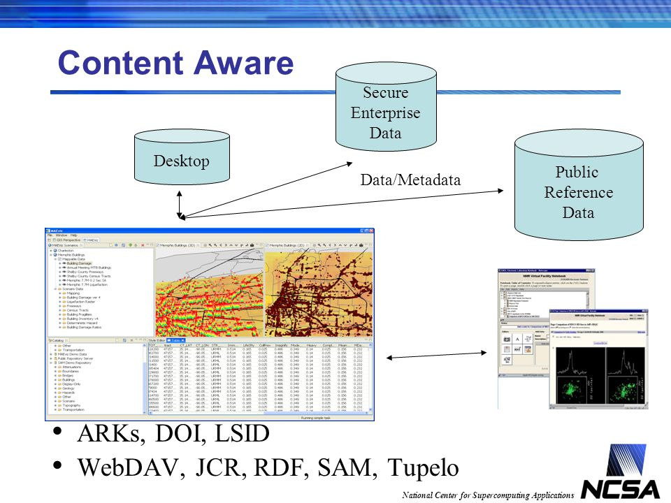 National Center for Supercomputing Applications Content Aware ARKs, DOI, LSID WebDAV, JCR, RDF, SAM, Tupelo Desktop Secure Enterprise Data Public Reference Data Data/Metadata