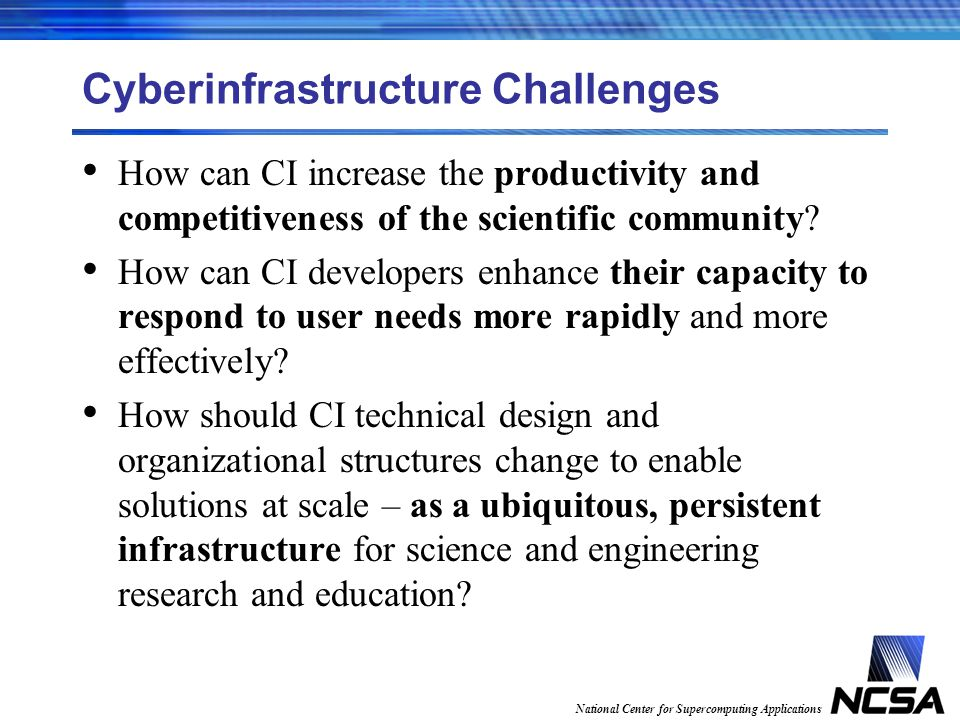 National Center for Supercomputing Applications Cyberinfrastructure Challenges How can CI increase the productivity and competitiveness of the scientific community.