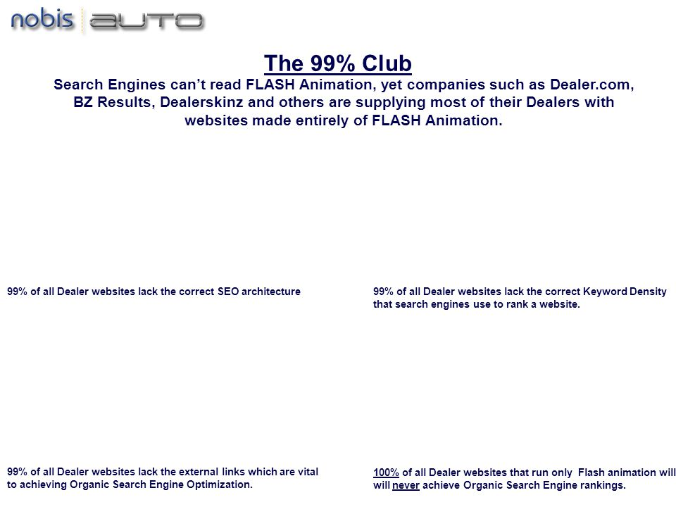 The 99% Club 99% of all Dealer websites lack the correct SEO architecture99% of all Dealer websites lack the correct Keyword Density that search engines use to rank a website.