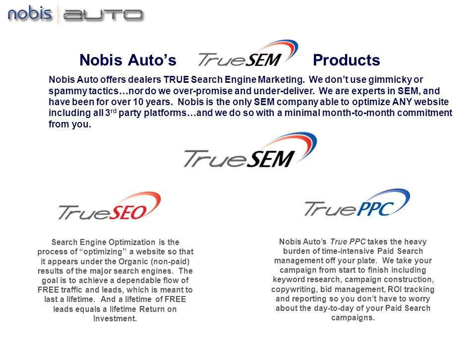 Nobis Autos Products Search Engine Optimization is the process of optimizing a website so that it appears under the Organic (non-paid) results of the major search engines.