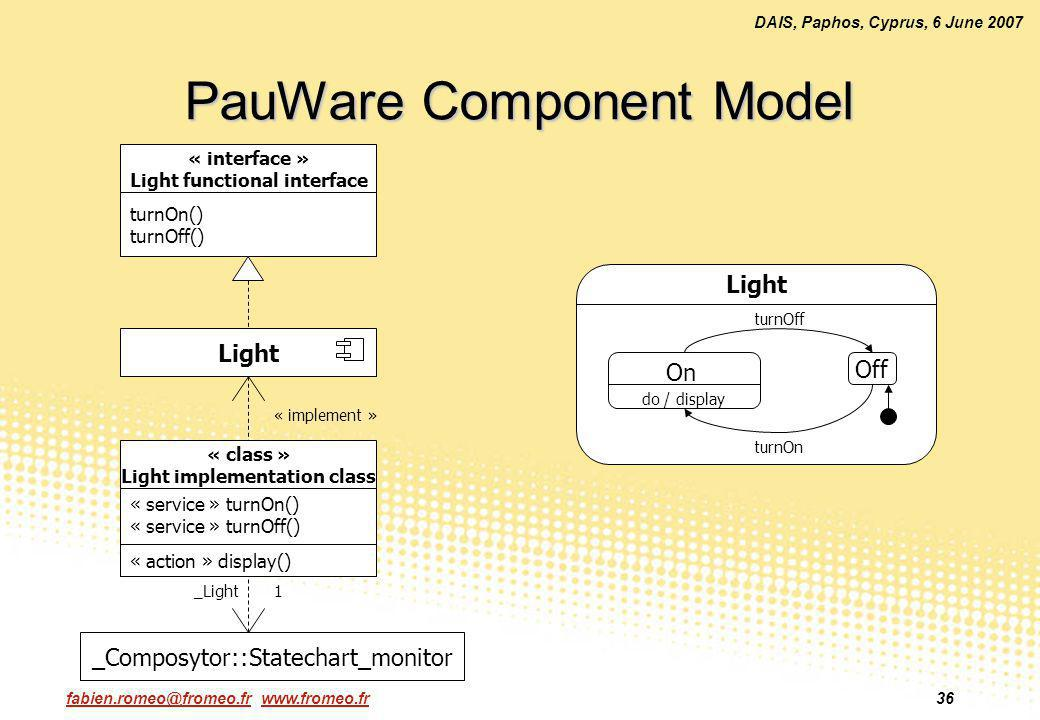 fabien.romeo@fromeo.fr www.fromeo.fr36 DAIS, Paphos, Cyprus, 6 June 2007 PauWare Component Model « interface » Light functional interface turnOn() turnOff() Light « class » Light implementation class « service » turnOn() « service » turnOff() « action » display() OnOff Light turnOff turnOn On Off do / display _Composytor::Statechart_monitor 1_Light « implement »