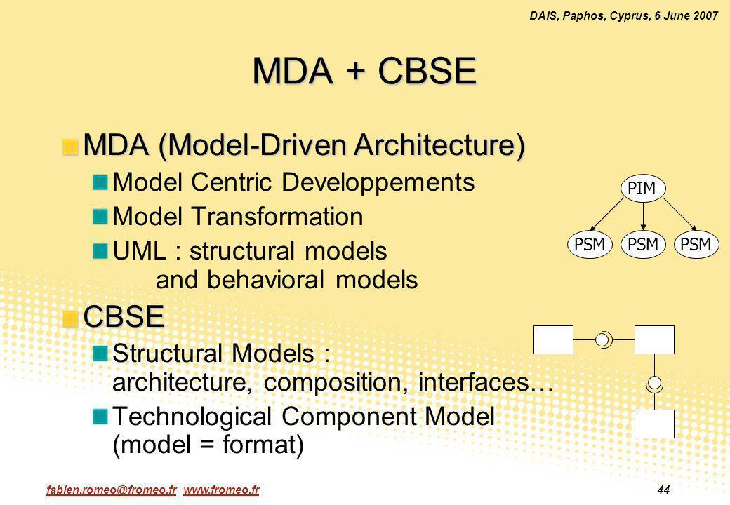 fabien.romeo@fromeo.fr www.fromeo.fr44 DAIS, Paphos, Cyprus, 6 June 2007 MDA + CBSE MDA (Model-Driven Architecture) Model Centric Developpements Model