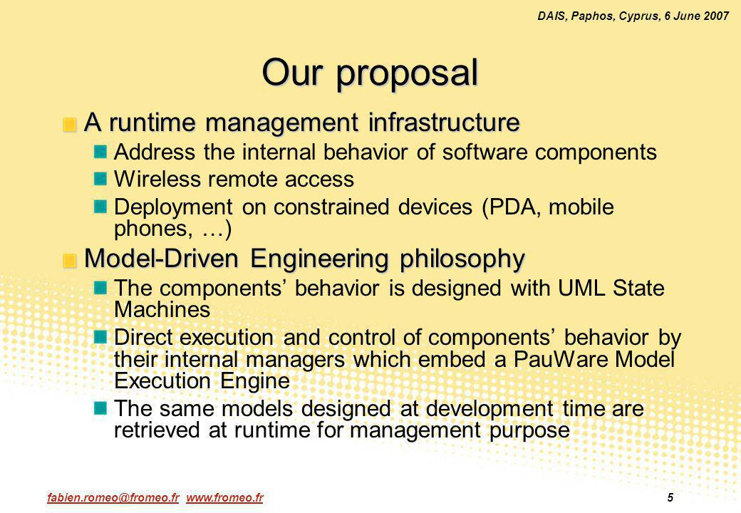 fabien.romeo@fromeo.fr www.fromeo.fr5 DAIS, Paphos, Cyprus, 6 June 2007 Our proposal A runtime management infrastructure Address the internal behavior