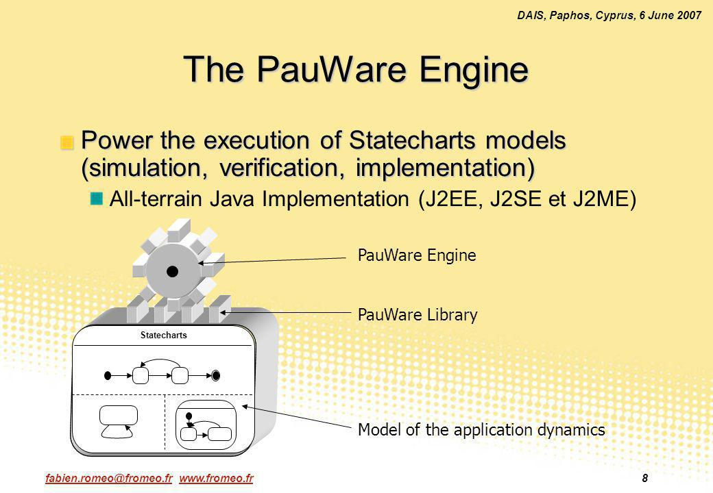 fabien.romeo@fromeo.fr www.fromeo.fr8 DAIS, Paphos, Cyprus, 6 June 2007 The PauWare Engine Power the execution of Statecharts models (simulation, verification, implementation) All-terrain Java Implementation (J2EE, J2SE et J2ME) Statecharts Model of the application dynamics PauWare Library PauWare Engine