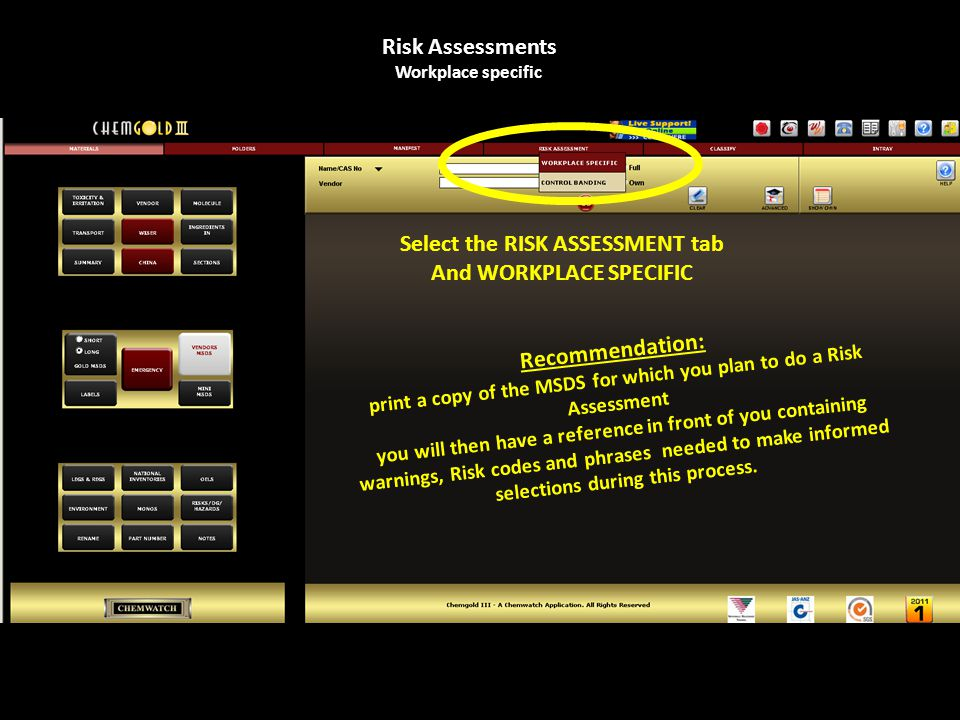 Start screen, Risk Assessments Workplace specific