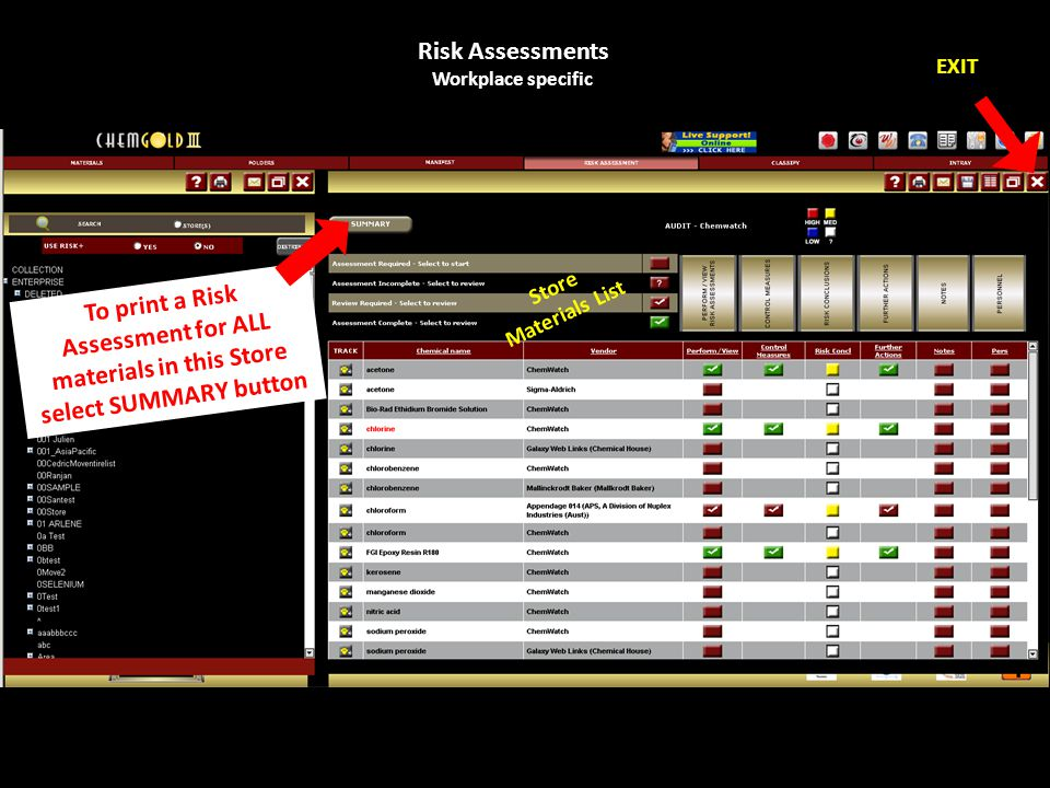 Risk Assessments Workplace specific EXIT Store Materials List To print a Risk Assessment for ALL materials in this Store select SUMMARY button