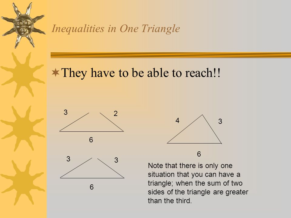 Inequalities in One Triangle 6 3 2 6 3 3 4 3 6 Note that there is only one situation that you can have a triangle; when the sum of two sides of the tr