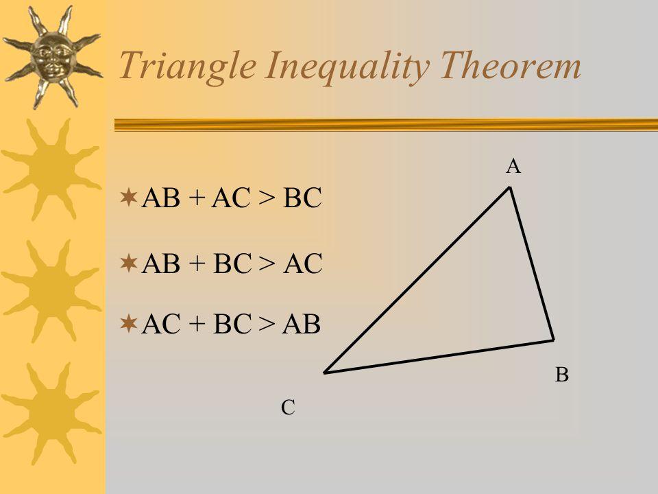 Triangle Inequality Theorem AB + BC > AC A B C AB + AC > BC AC + BC > AB