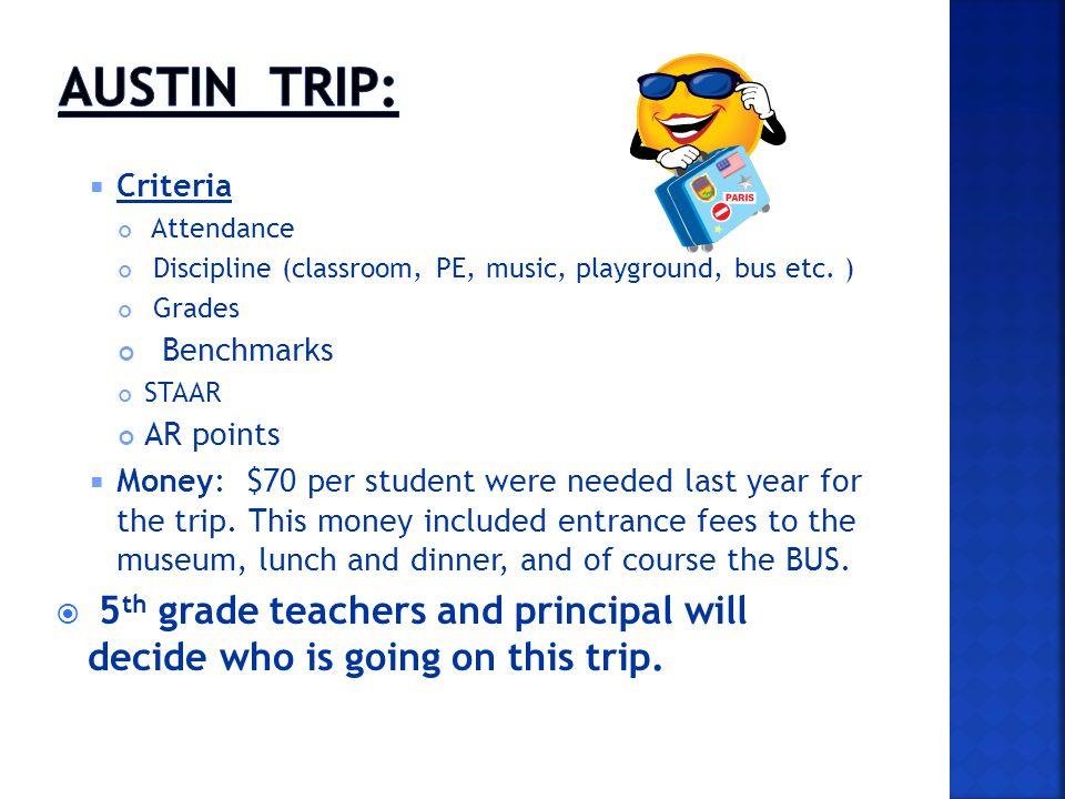 Criteria Attendance Discipline (classroom, PE, music, playground, bus etc. ) Grades Benchmarks STAAR AR points Money: $70 per student were needed last