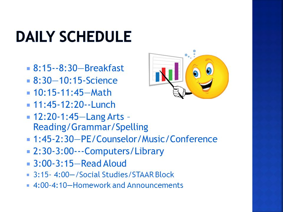 8:15--8:30Breakfast 8:3010:15-Science 10:15-11:45Math 11:45-12:20--Lunch 12:20-1:45Lang Arts – Reading/Grammar/Spelling 1:45-2:30PE/Counselor/Music/Conference 2:30-3:00---Computers/Library 3:00-3:15Read Aloud 3:15- 4:00/Social Studies/STAAR Block 4:00-4:10Homework and Announcements