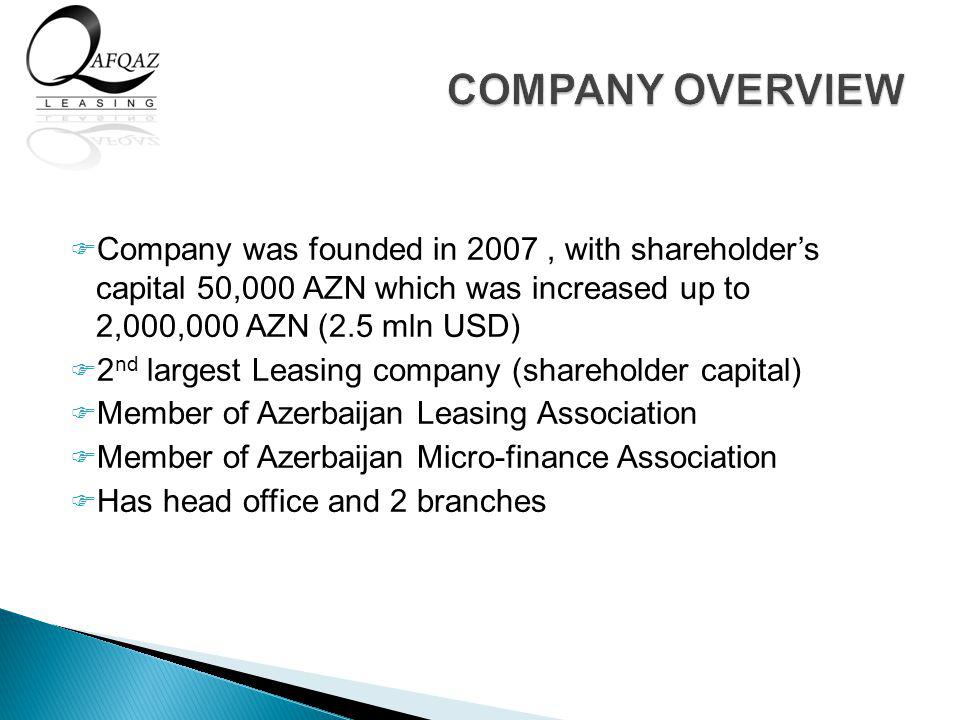 Company was founded in 2007, with shareholders capital 50,000 AZN which was increased up to 2,000,000 AZN (2.5 mln USD) 2 nd largest Leasing company (