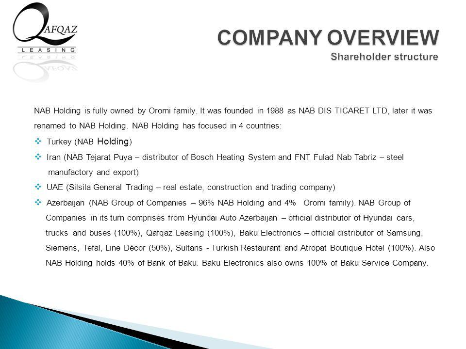 NAB Holding is fully owned by Oromi family.