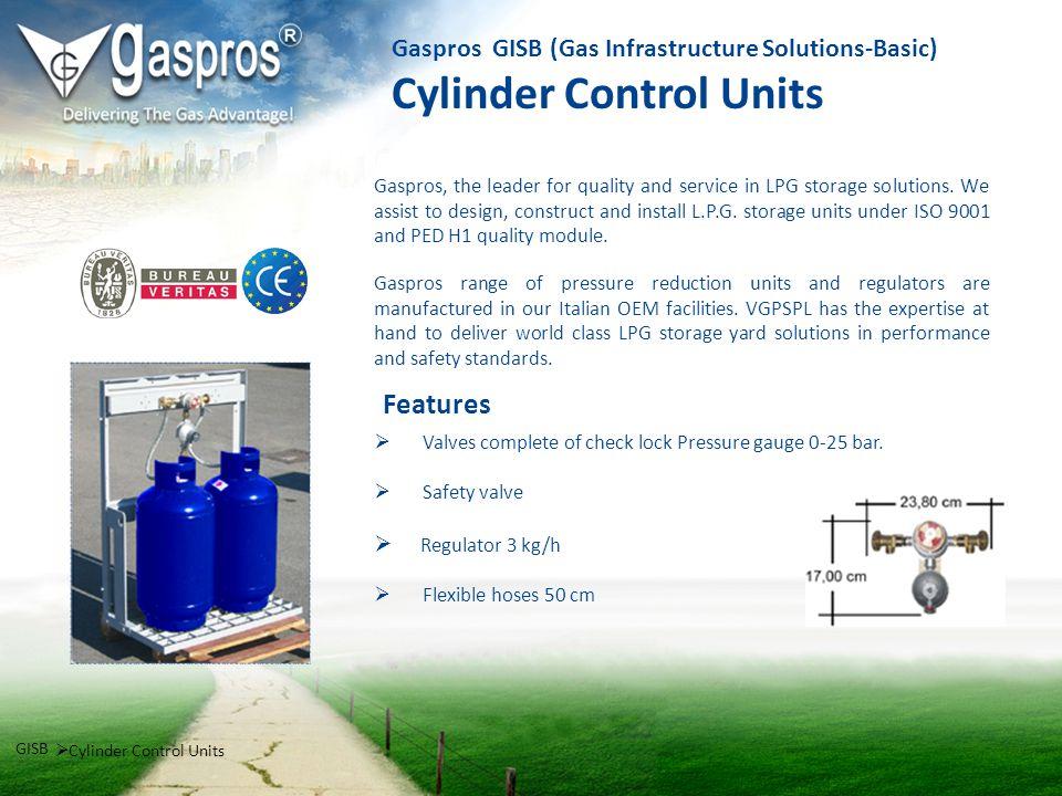 Gaspros GISB (Gas Infrastructure Solutions-Basic) Cylinder Control Units Valves complete of check lock Pressure gauge 0-25 bar. Safety valve Regulator