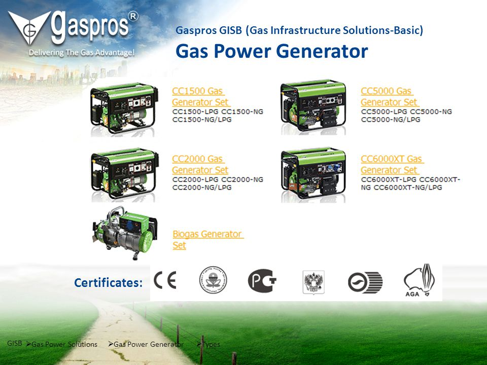 Gas Power Solutions GISB Gas Power Generator Gaspros GISB (Gas Infrastructure Solutions-Basic) Gas Power Generator Types Certificates: