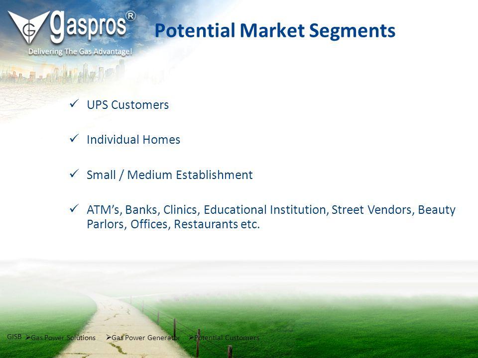 Potential Market Segments UPS Customers Individual Homes Small / Medium Establishment ATMs, Banks, Clinics, Educational Institution, Street Vendors, B
