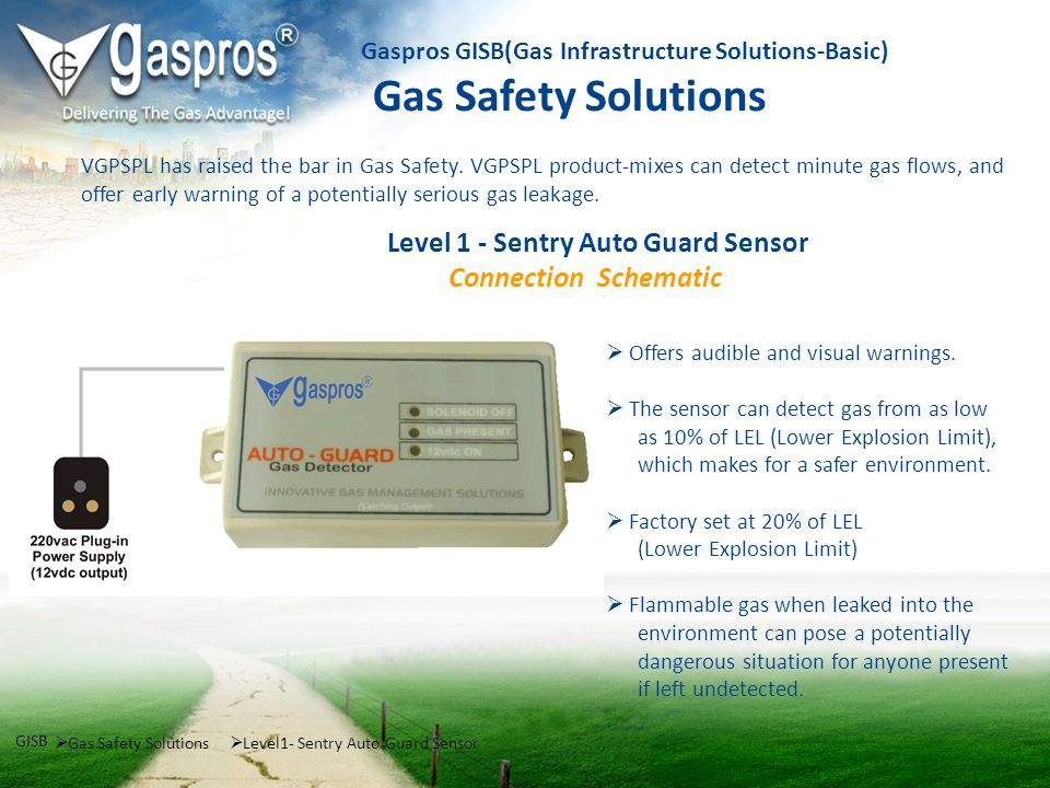 Gas Safety Solutions GISB Level1- Sentry Auto Guard Sensor Gaspros GISB(Gas Infrastructure Solutions-Basic) Gas Safety Solutions Level 1 - Sentry Auto