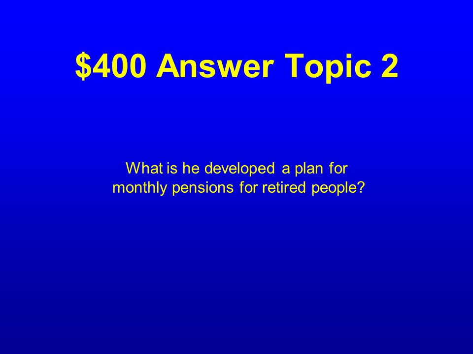$400 Question Topic 2 The action that brought fame to Francis Townsend.