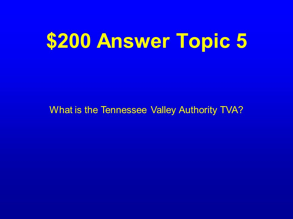 $200 Question Topic 5 The program that provided cheap electricity to southern states.