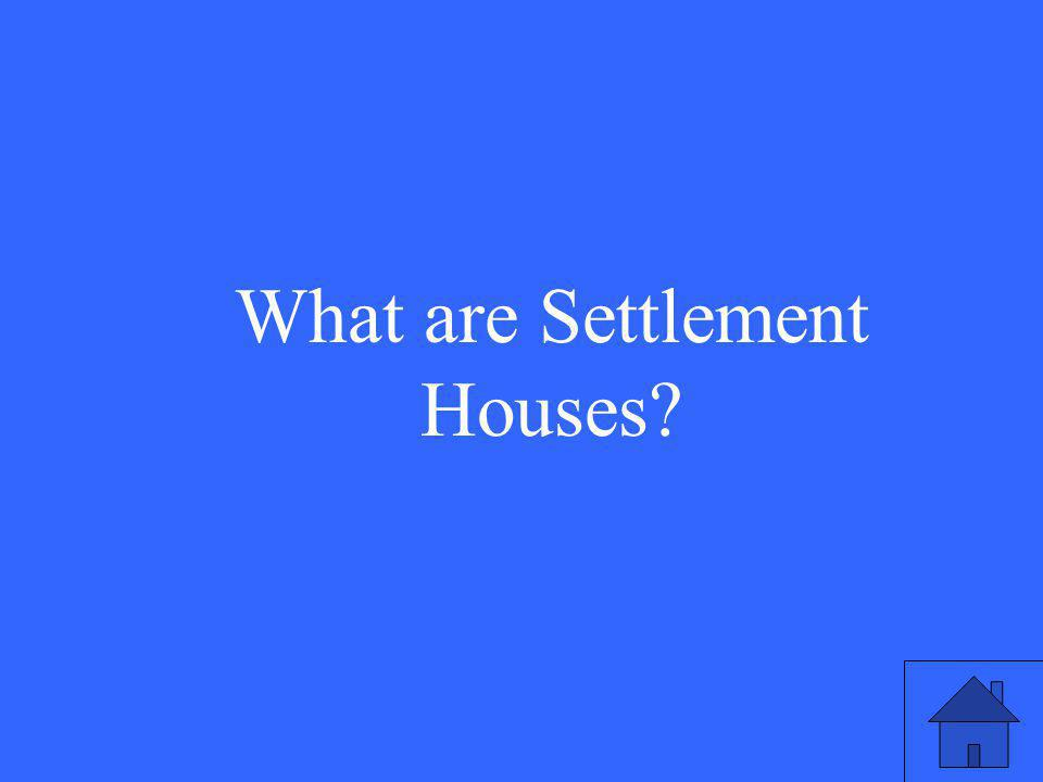 What are Settlement Houses