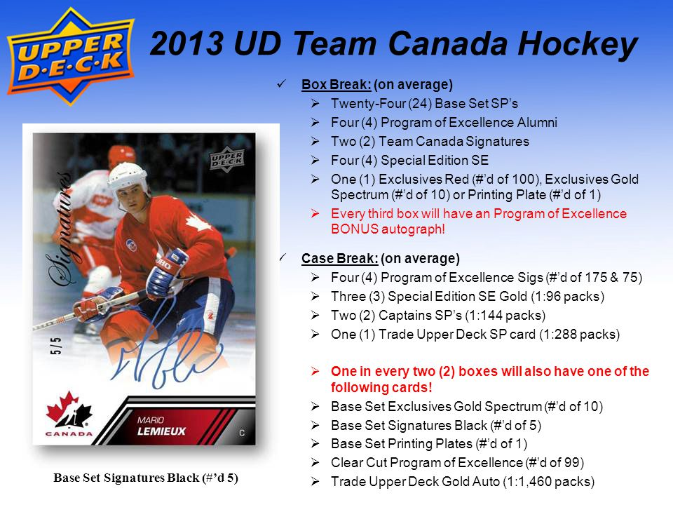 2013 UD Team Canada Hockey Case Break: (on average) Four (4) Program of Excellence Sigs (#d of 175 & 75) Three (3) Special Edition SE Gold (1:96 packs) Two (2) Captains SPs (1:144 packs) One (1) Trade Upper Deck SP card (1:288 packs) One in every two (2) boxes will also have one of the following cards.