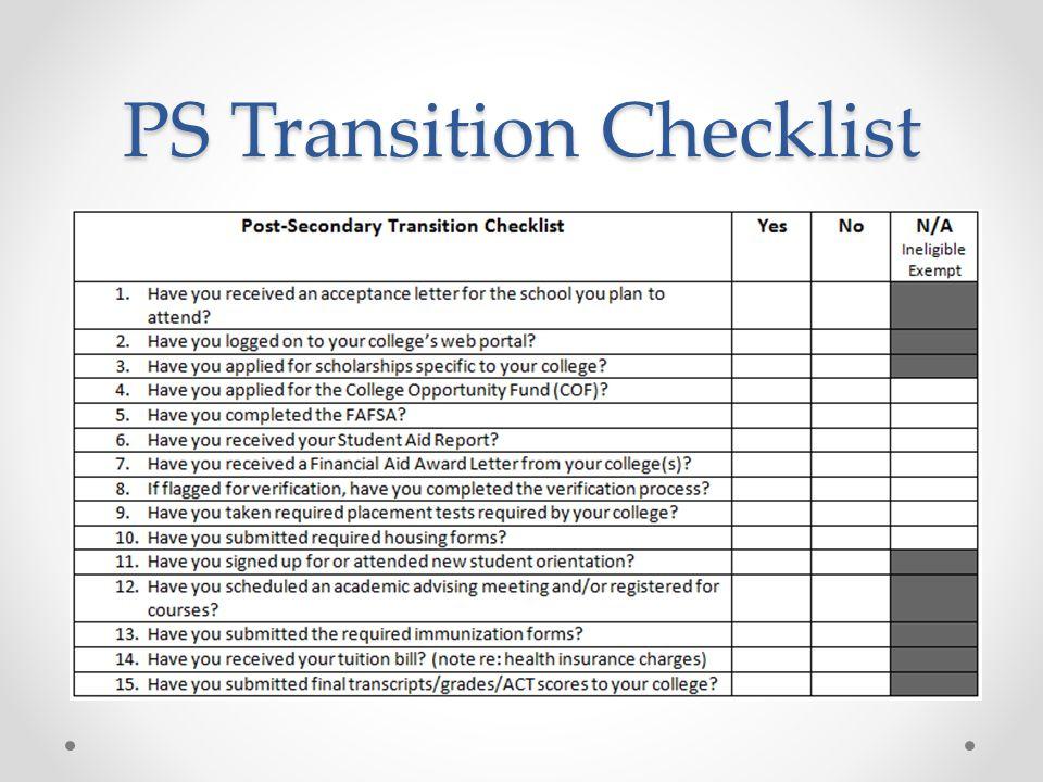 PS Transition Checklist
