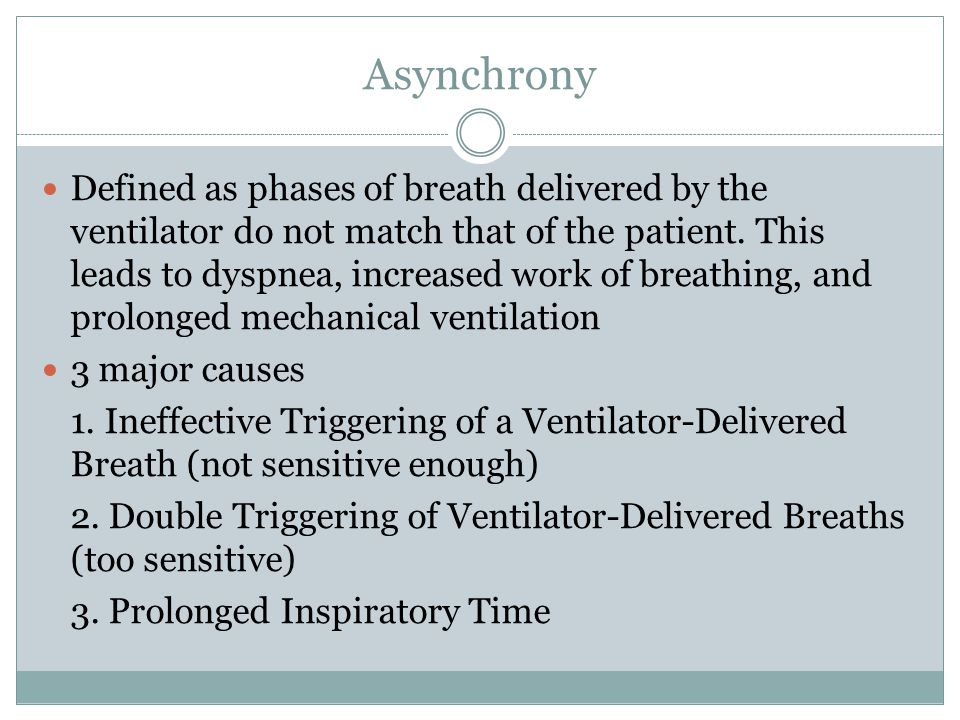 Asynchrony Defined as phases of breath delivered by the ventilator do not match that of the patient.
