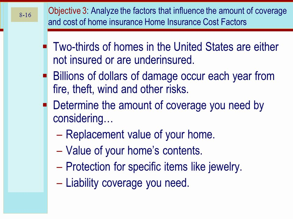8-16 Objective 3: Analyze the factors that influence the amount of coverage and cost of home insurance Home Insurance Cost Factors Two-thirds of homes in the United States are either not insured or are underinsured.